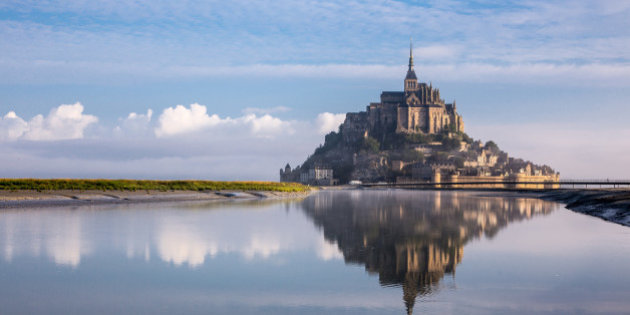 Mont St Michel and its reflection on water